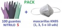 mascarillas KN95 guantes de NITRILO talla S