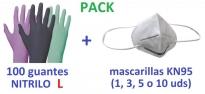 guante NITRILO desechable examen mascarilla kn95 ffp2