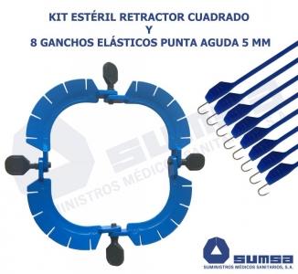 KIT RETRACTOR CUADRADO QUIRURGICO SEPARAR TEJIDO GANCHO ELASTICO AGUDA 5 MM