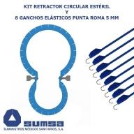 Retractor circular con 8 ganchos elásticos punta roma 5 mm