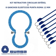 Retractor circular con 8 ganchos elásticos punta roma 12mm