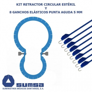 Retractor circular with 8 elastic stays sharp 5 mm
