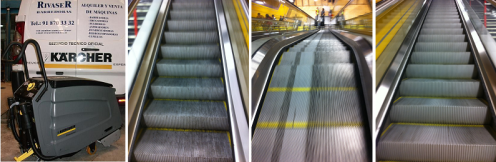 Fregadora de escaleras mecánicas