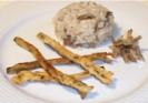 Rissoto de setas con tempura de espárrago de Huétor Tájar