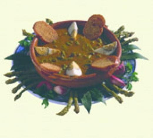 Estofado de espárragos de Huétor Tájar con jamón de trevelez