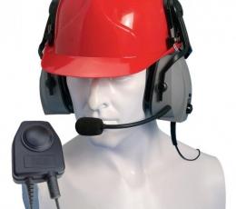 Micrófono con auricular doble para casco