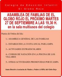 AMPA: Asamblea de familias de El Globo Rojo, próximo martes 27