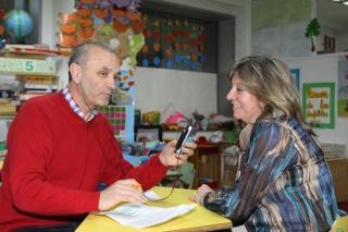 Sonia Soriano, en un momento de la entrevista con Daniel Domínguez, conductor del programa