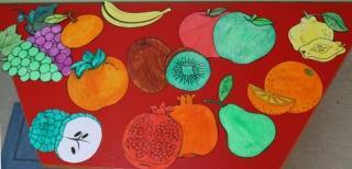 Bodegón de frutas de Otoño para colorear