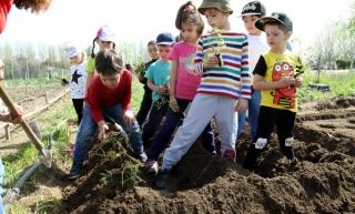 Los niños de El Globo Rojo inauguran la nueva temparada del huerto escolar