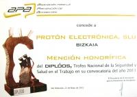 23.05.2012: PROTON ELECTRONICA Mención de Honor en los premios DIPLOOS 2011