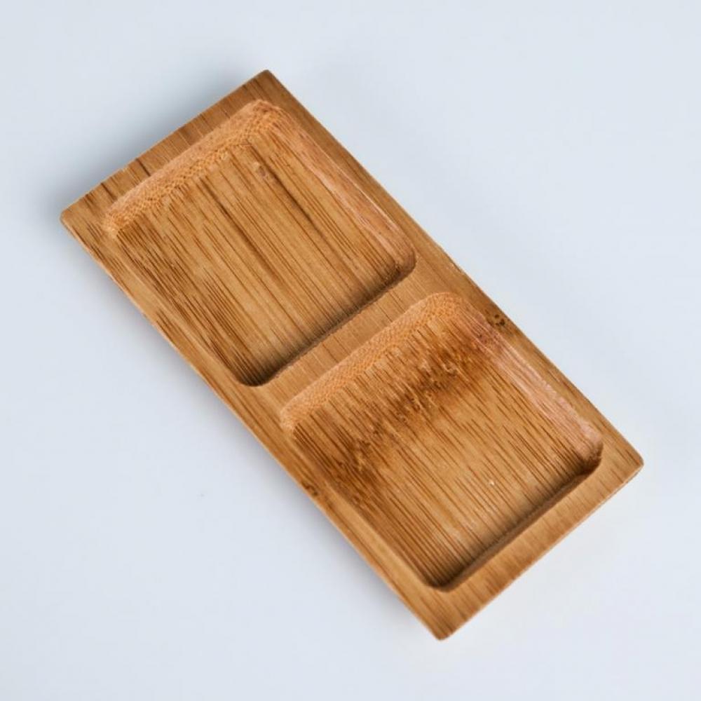 Plato de madera cuadrado doble desechable tipo BANDEJA para fiestas y eventos catering y hostelería