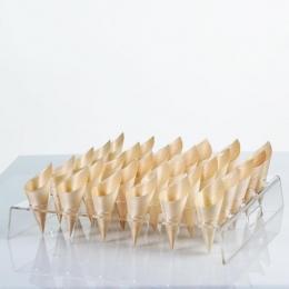Soporte transparente display para conos de madera presentacion degustaciones varias