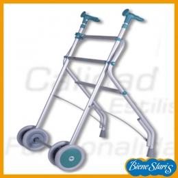 Andador ortopédico para mayores con ruedas  y taco