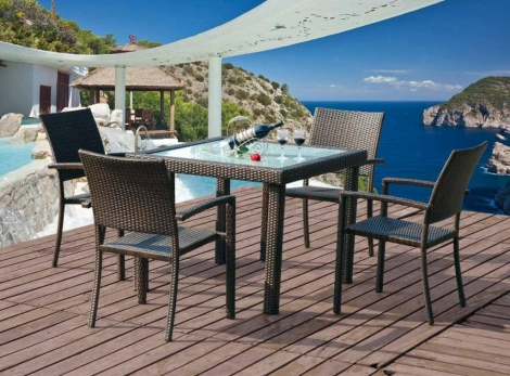 Mesa de comedor 90x90 4 sillones rustika decoraci n madrid for Mesa comedor 90x90