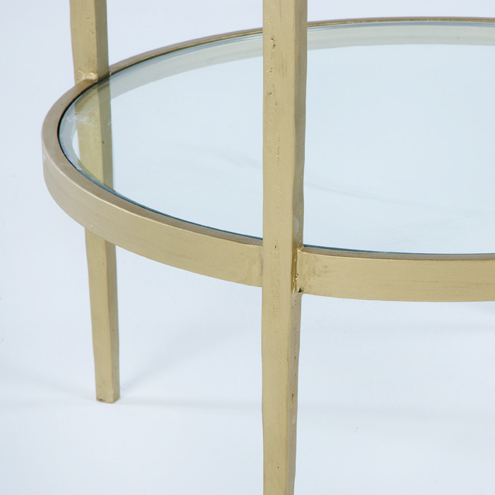 Mesa auxiliar dorada redonda rustika decoraci n madrid - Mesa auxiliar dorada ...
