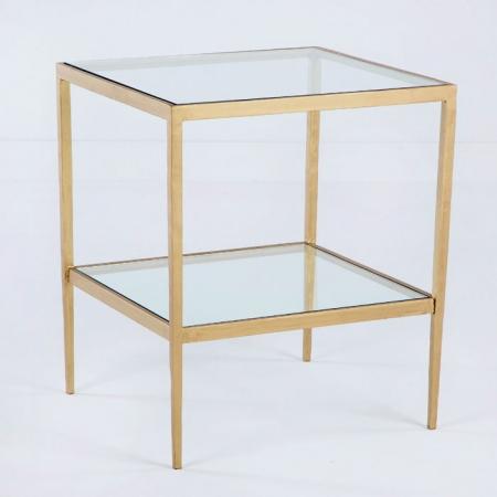 Mesa auxiliar dorada cuadrada rustika decoraci n madrid - Mesa auxiliar dorada ...