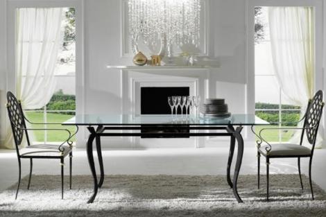 Mesa de comedor forja cristal rustika decoraci n madrid - Mesas de forja y cristal ...