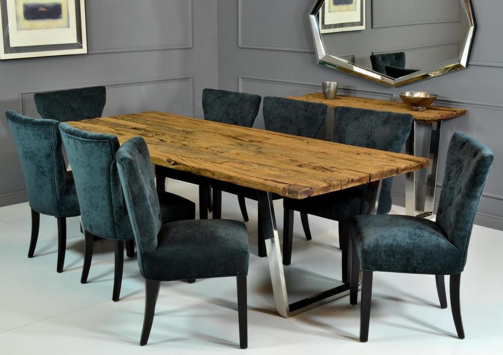 Mesa de comedor en acero y madera rustika decoraci n madrid - Mesas de comedores ...