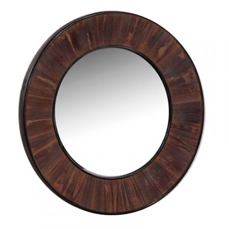 Espejo redondo madera rustika decoraci n madrid for Espejo redondo madera