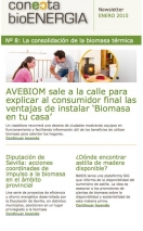 newsletter Conecta Bioenergía enero 2015. Noticias sobre Expobiomasa y AVEBIOM