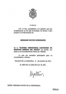 HUELVA: El Rey acepta el nombramiento de Hermano Mayor Honorario de la Hermandad Castrense del Rocío