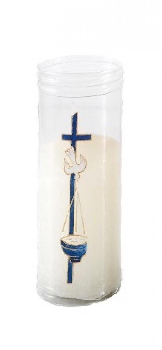 Vela Bautismo en vaso de plástico decorado