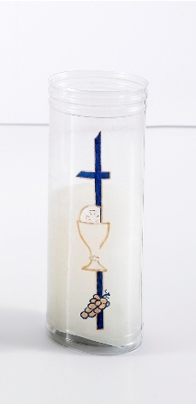 Vela de Primera Comunión en vaso de plástico decorado