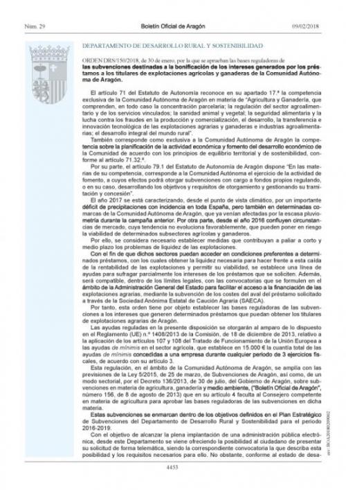 SUBVENCIONES DESTINADAS A LA BONIFICACIÓN DE INTERESES 2018