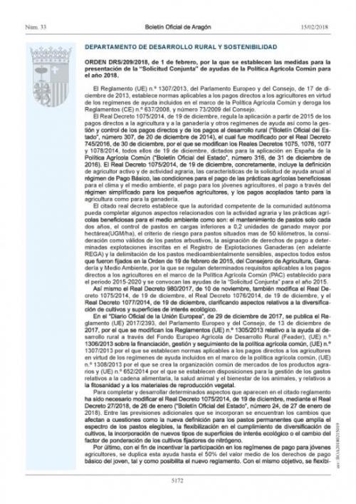 MEDIDAS PARA LA PRESENTACIÓN DE LA PAC 2018