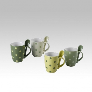 Mugs lunares + 4 cucharas
