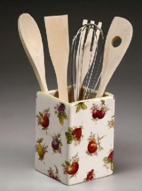 Utensilios cocina madera con base de ceramica en torno for Utensilios de cocina de ceramica