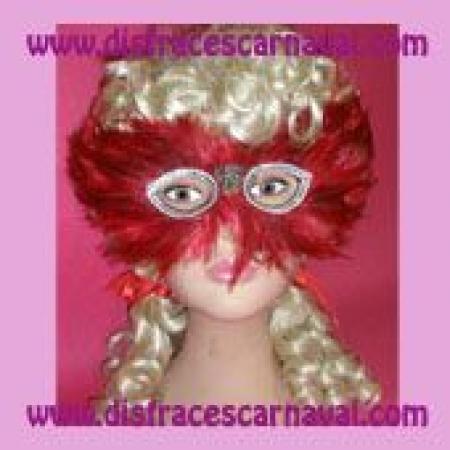 Antifaz plumas Rojo-Negro