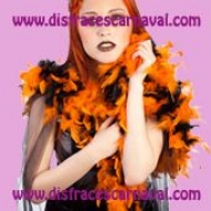 Boa plumas negra y naranja