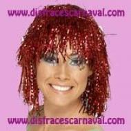 peluca lurex metalizada roja