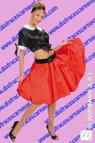 Falda Corte Capa Raso Roja