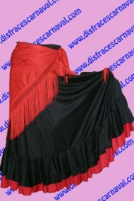 Falda Flamenco Negra y Roja 2 vol