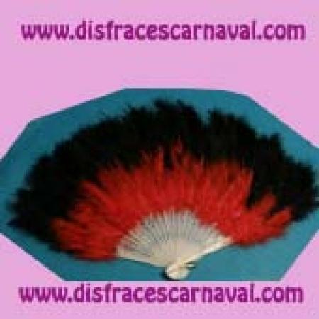 Abanico Plumas Negro-Rojo