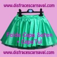 Falda Saten Corte capa + capa tul