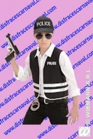 policia chaleco y gorra