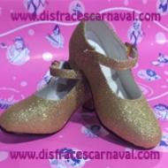 zapato princesa purpurina oro