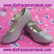 zapato princesa purpurina plata