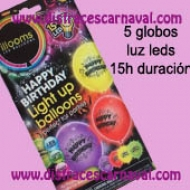 5 Globos con luz led Happy Birthday
