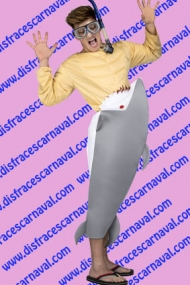 disfraz bañista comido por tiburon