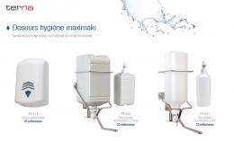 Doseurs maxi-hygiène, cartouche jetable, capteur automatique.