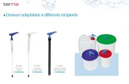 Doseurs adaptables à différents types de contenants. Pâtes épaisses, gels, produits chlorés.