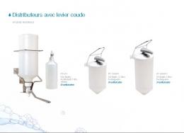 Distributeurs avec levier coude. Cartouche jetable 1.0. Rechargeable 1.5-2.0 litres.