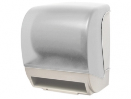 White paper roll with autocut sensor dispenser