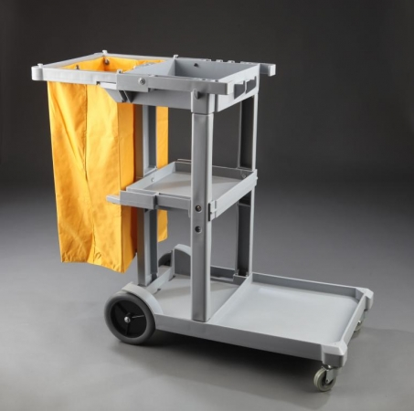 L-shaped plastic cleaning trolley
