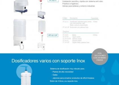 Dosificadores c/ cartucho 4 litros y soporte en inox.
